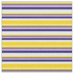 [ Thumbnail: Mint Cream, Yellow, Dim Gray, Plum & Midnight Blue Fabric ]