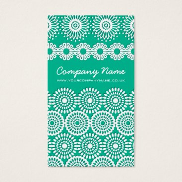 Professional Business Mint Crochet Lace Flowers Business Card