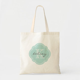 Mint Custom Personalized Monogram Tote Bag