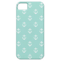 Mint Cute Anchor Pattern iPhone SE/5/5s Case