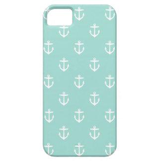 Mint Cute Anchor Pattern iPhone SE/5/5s Case