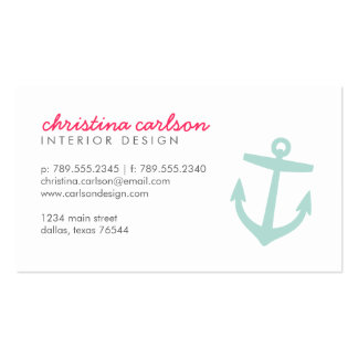 Mint Cute Nautical Anchor & Stripes Double-Sided Standard Business Cards (Pack Of 100)