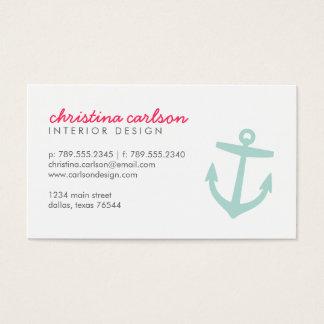 Mint Cute Nautical Anchor & Stripes Business Card