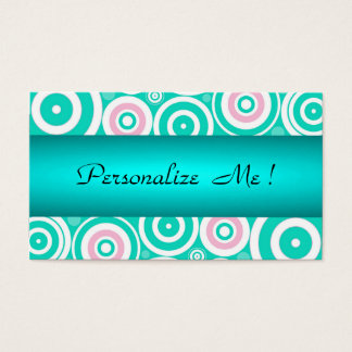 Mint Cute Trendy Green Girly Wedding Polka Dots Business Card