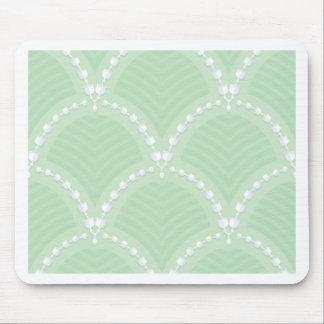 Mint,cute,white,art deco,pearl,pattern,art nouveau mouse pad