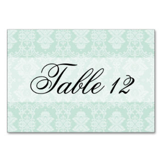Mint Damask and Ribbon Wedding Table Cards