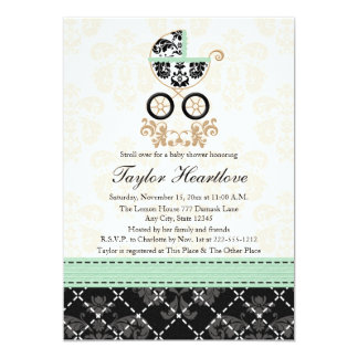 MINT DAMASK BABY CARRIAGE BABY SHOWER 5X7 PAPER INVITATION CARD