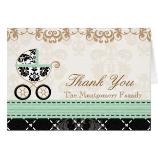MINT Damask Baby Carriage Shower Thank You Card