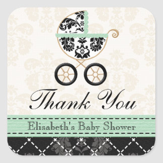 MINT DAMASK BABY CARRIAGE THANK YOU SQUARE STICKER
