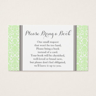Mint Damask Baby Shower Book Request Card