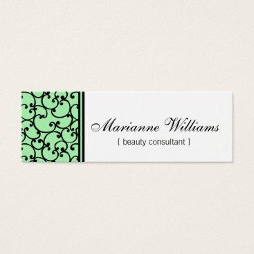 Professional Business Mint Damask Beauty Micro Mini Business Cards