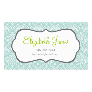 Mint Damask Double-Sided Standard Business Cards (Pack Of 100)