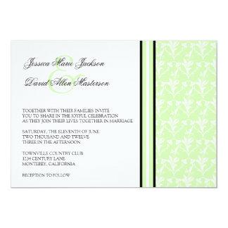 "Mint Damask Formal 5x7 Wedding Invitation 5"" X 7"" Invitation Card"