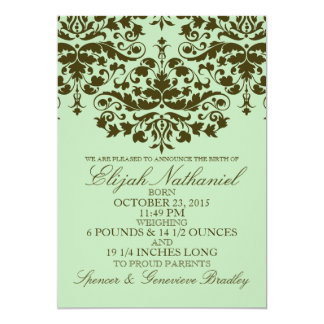 "Mint Damask Formal Introduction Birth Announcement 5"" X 7"" Invitation Card"