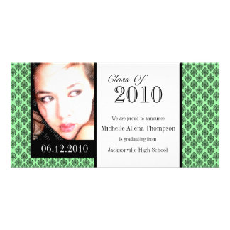 Mint Damask Graduation Announcement Photo Cards