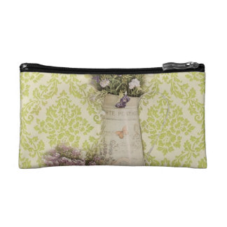 Mint damask lavender flower rustic french country cosmetic bag