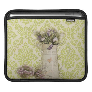 Mint damask lavender flower rustic french country iPad sleeve