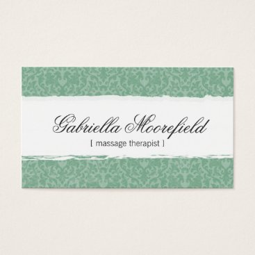 Professional Business Mint Damask Massage Therapy Business Card