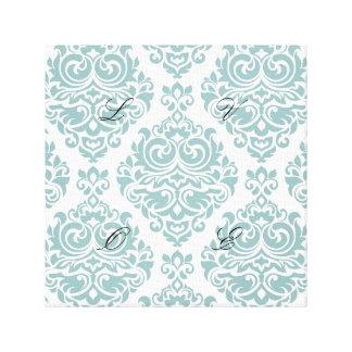 Mint,damask,modern,pattern,girly,trendy,chic,cute, Canvas Print