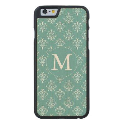 Mint Damask Monogram Carved® Maple iPhone 6 Slim Case