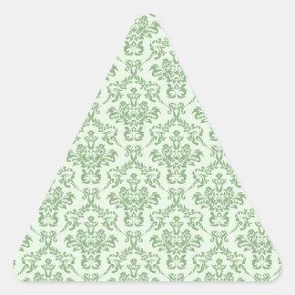 Mint Damask Pattern Triangle Sticker