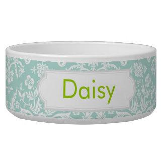 Mint Damask Dog Water Bowl