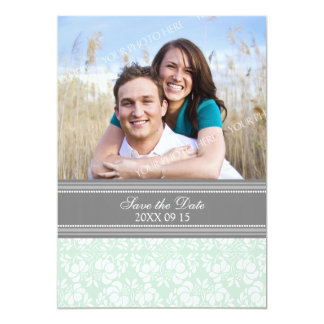 Mint Damask Photo Wedding Save the Date Card