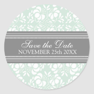 Mint Damask Save the Date Envelope Seal