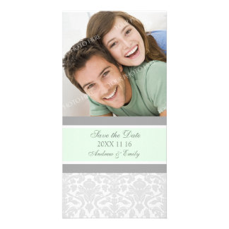 Mint Damask Save the Date Wedding Photo Cards