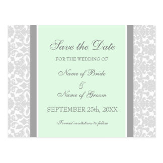 MInt Damask Save the Date Wedding Postcards