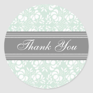 Mint Damask Thank You Wedding Envelope Seals Classic Round Sticker