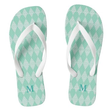 Beach Themed Mint Diamond pattern white stripes Monogram Flip Flops