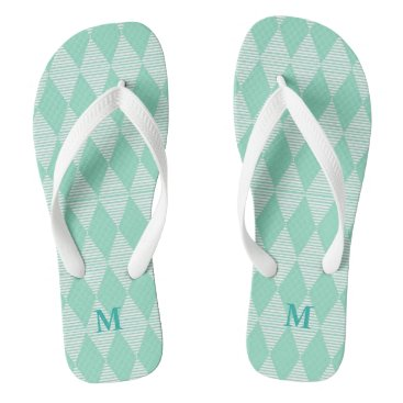 Beach Themed Mint Diamond pattern white stripes Monogram Flip Flops