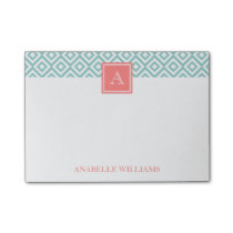 Mint Diamonds Pattern and Coral Monogram Post-it® Notes