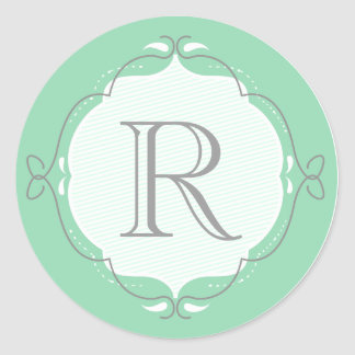 Mint Doodled Frame Monogram Envelope Seal Classic Round Sticker