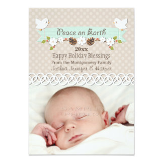 MINT DOVE BABY'S 1ST CHRISTMAS HOLIDAY PHOTO CARD PERSONALIZED INVITE