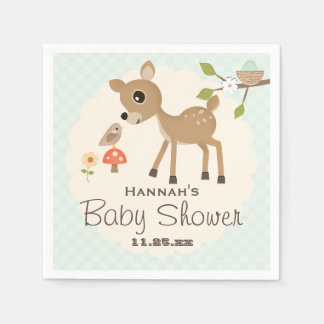 Mint Egg Woodland Deer Baby Shower Paper Napkin