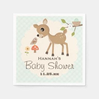 Mint Egg Woodland Deer Baby Shower Paper Napkin