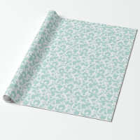 Mint Elegant Damask Print Wrapping Paper