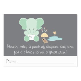 Mint Elephant Little Bird Diaper Raffle Tickets Large Business Card
