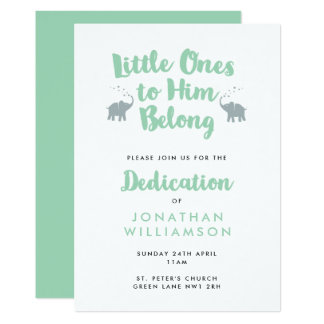 Mint Elephants Christian Dedication Invitation