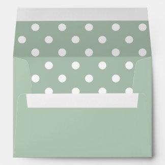 Mint Envelope, Mint Hemlock Green Polka Dot Lined Envelopes