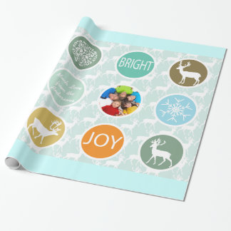 Mint Family Photo Reindeer Christmas Merry Bright Wrapping Paper