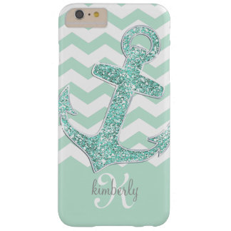 Mint Faux Glitter Anchor Chevron Personalized Barely There iPhone 6 Plus Case