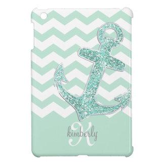 Mint Faux Glitter Anchor Chevron Personalized iPad Mini Case
