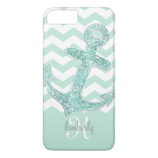 Mint Faux Glitter Anchor Chevron Personalized iPhone 8 Plus/7 Plus Case