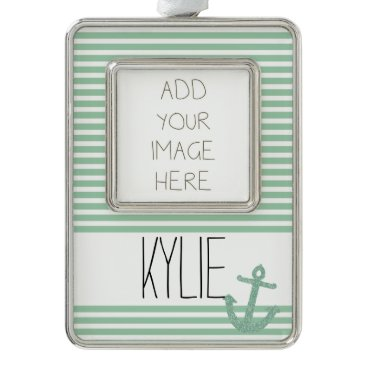 Beach Themed Mint Faux Glitter Anchor Stripes Silver Plated Framed Ornament