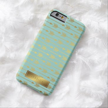 heartlocked Mint Faux Gold Foil Arrows Pattern Barely There iPhone 6 Case
