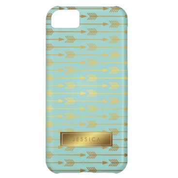 heartlocked Mint Faux Gold Foil Arrows Pattern Cover For iPhone 5C