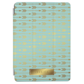 Mint Faux Gold Foil Arrows Pattern iPad Air Cover